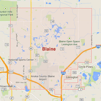 Blaine sprinkler irrigation system installation, maintenance and repair service area map near Blaine, MN, 55014, 55434, 55449.