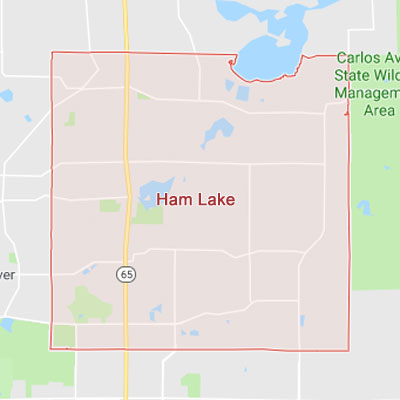 Ham Lake Minnesota sprinkler irrigation system installation, maintenance and repair service area map near Ham Lake, MN, 55304.