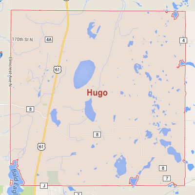 Hugo sprinkler irrigation system installation, maintenance and repair service area map near Hugo, MN, 55038, 55110.