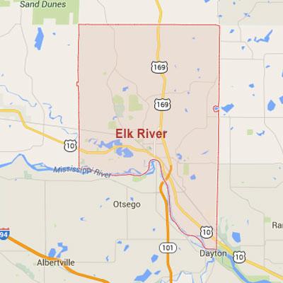 Elk River sprinkler irrigation system installation, maintenance and repair service area map near Elk River, MN, 55330.
