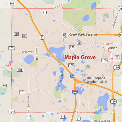 Maple Grove sprinkler irrigation system installation, maintenance and repair service area map near Maple Grove, MN, 55311, 55369.