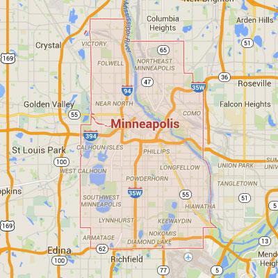 Formaneck Irrigation Minneapolis sprinkler irrigation system installation, maintenance and repair service area map.