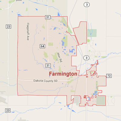 Formaneck Irrigation sprinkler irrigation system installation, maintenance and repair service area map near Farmington, MN.